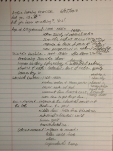My notes on what my students taught the class.