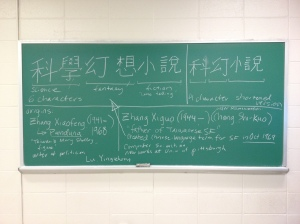 Taiwanese SF lecture notes on the chalkboard.