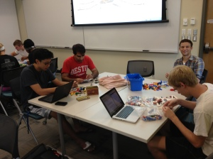 Students at work with Lego.