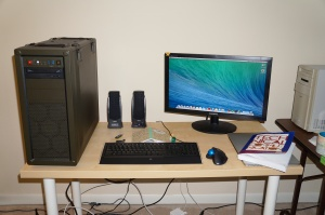 Mavericks installed on CustoMac. NB: MBPr on desk and PowerMacintosh 8500/120 on right.