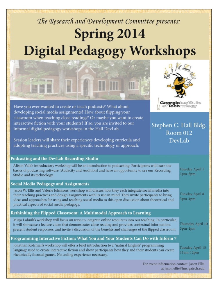 DevLab Workshop Flyer. Created by the AWESOME WCP Interns!