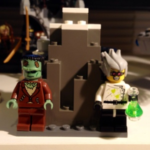 Popular or Sci-Fi depictions: The Creature in Boris Karloff disguise and Victor Frankenstein as the mad scientist.
