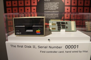 The first Apple Disk II and controller card hand wired by Wozniak. Photo taken at the Apple Pop-Up Museum in Roswell, GA.