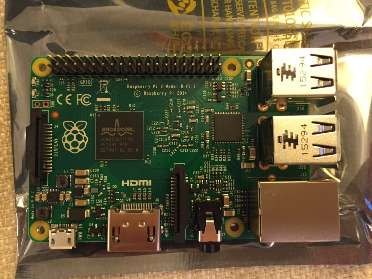 Raspberry Pi 2, Model B, Top View.