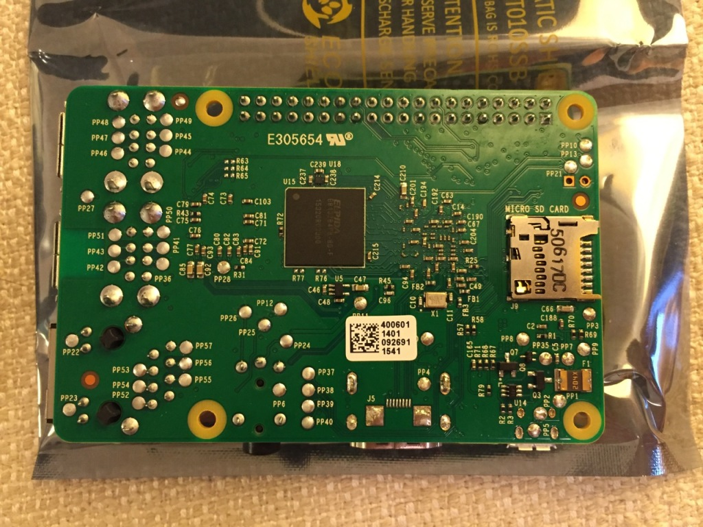 Raspberry Pi 2, Model B, Bottom View.
