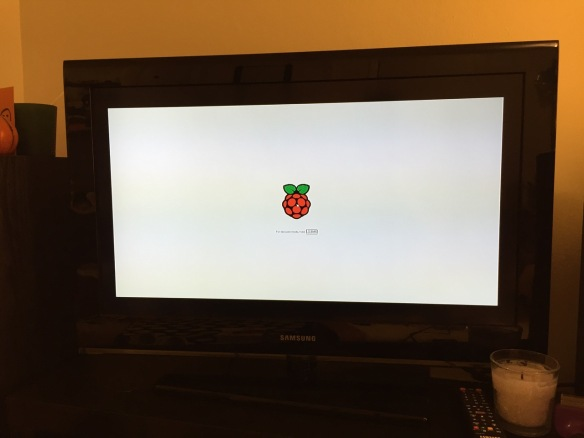 NOOBS boot screen with the Raspberry Pi logo.