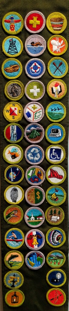 Jason Ellis' Boy Scouts Merit Badge sash with 40 badges, including Handicap Awareness.