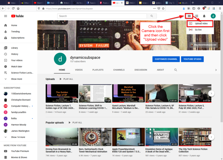 "First, navigate to YouTube.com and login to your account. Then, click on the camera icon in the upper right corner and then click ""Upload Video."""